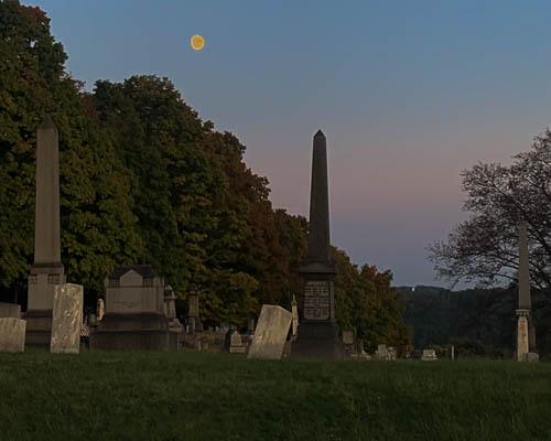 Prospect Cemetery. Brackenridge. Graves. Headstones. Full moon.