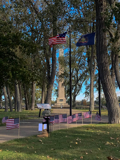 Perry Monument, Presque Isle State Park, Erie, Pennsylvania. American flags. Veterans Day
