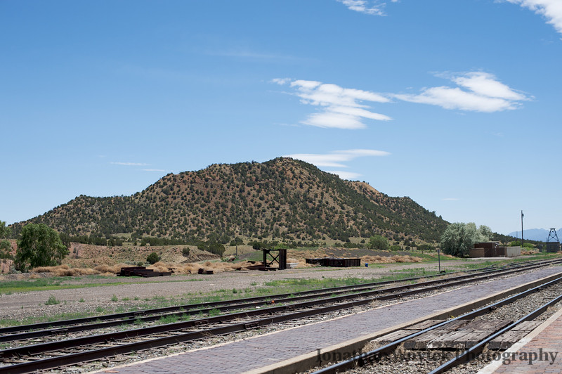 Hill, railroad tracks, Lamy, new mexico.