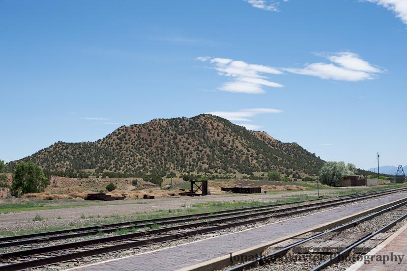 Hill, railroad tracks, Lamy, new mexico.